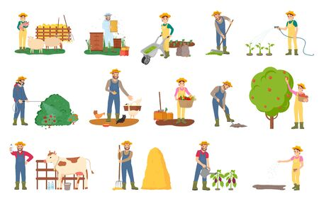 Farming people vector, beekeeping and plantation harvesting season, gathering fruits from trees and cutting bushes, watering aubergines, cow and sheep