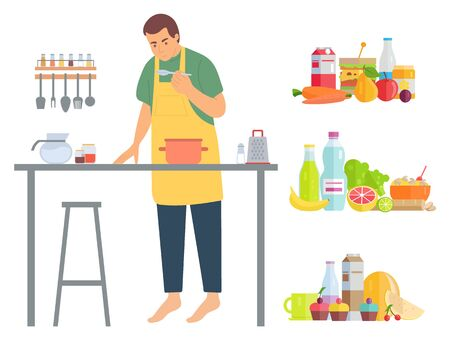 Pastime of man vector, isolated male wearing apron on pastime preparing food and dishes. . Man at home cooking lunch vector