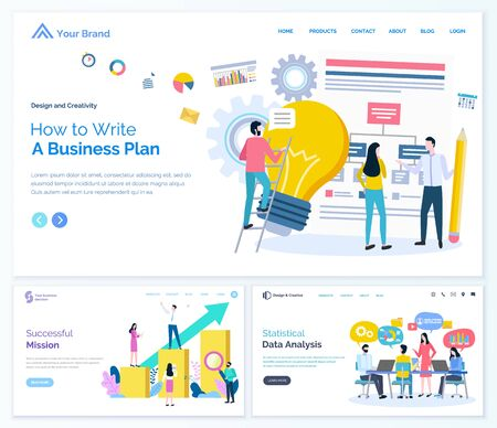 Statistical data analysis vector, business plan and success mission of businessman. Analyzing of info, conference of office workers conference. Website or webpage template, landing page flat style  イラスト・ベクター素材