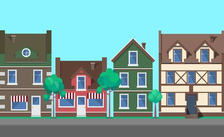 Old town architecture and buildings vector, home and houses with decorative, floral plants and bushes, paved road and fine weather, tourist attraction Illustration