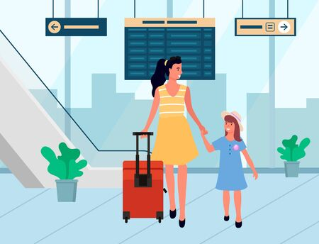 Mother and daughter going with baggage, people arrive. Family tourists in departure lounge, female holding child and luggage, smiling travelers vector