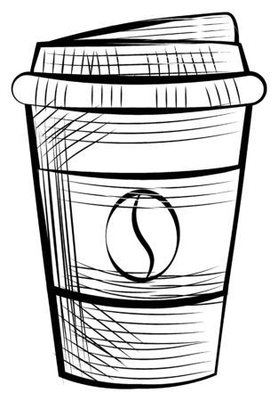 Monochrome disposable cup for espresso and latte, beverage label. Vector mug with lid, coffee container with cap isolated sketch icon, takeaway dishware, java bean