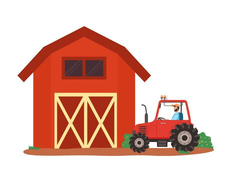 Farmhouse and agricultural machinery vector, tractor with farmer sitting inside, male riding automobile for field works and cultivation of soil, countryside. Flat cartoon Illustration