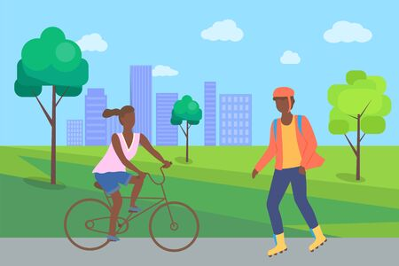 Boy rollerblading in casual clothes and afro-american woman riding on bike, people in city part. Man wearing helmet, person on roller skate urban activity vector. Flat cartoon Ilustração