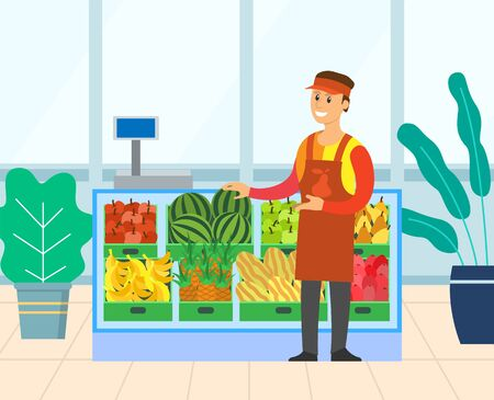 Marketer standing near boxes of fruit and vegetables. Smiling seller, containers of watermelon, apple and pear, melon and banana, pineapple, marker vector. Flat cartoon