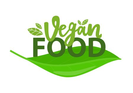 Vegan food promo symbol isolated on green leaf. Vector healthy nutrition, label with plants or sprouts, fresh organic vegetarian meal
