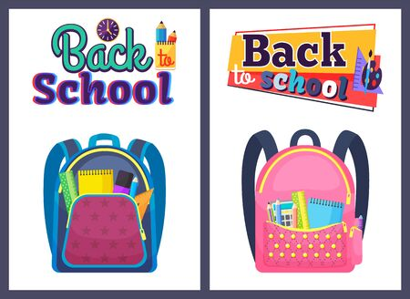 Colored school backpack. Education and study back to school, schoolbag luggage, rucksack vector illustration. Kids school bag with education equipment. Backpacks with study supplies. Student satchels Ilustracja