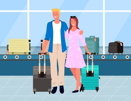 Man and woman travelers standing near baggage claim, track with luggage. Smiling couple tourists in airport, man and woman hugging, passenger vector. Family travel. Flat cartoon