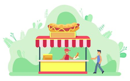 Person buying food from store in park vector, seller and client on summer market. Snack kiosk with hot dogs, bun with ketchup and mustard mayonnaise meal. Flat cartoon