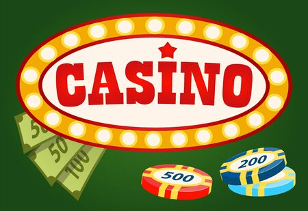 Casino signboard with light-bulbs, poker chips and dollars. Label of gambling game, currency and checks, earn money symbol, jackpot , wealth vector. Red text casino. Flat cartoon