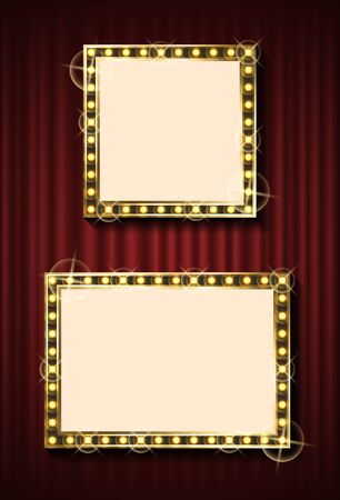 Two different size frames with small light bulb around. Bright mirror or background element. Golden illuminated neon decoration. Retro style vector Illustration