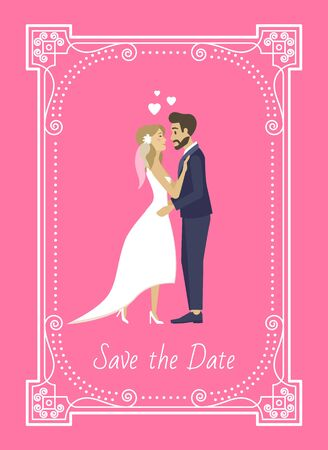 People inviting on wedding ceremony vector, save the date in frame, ornamental shape with decor and text. Bride and groom kissing, man and woman in love. Flat cartoon