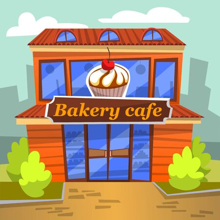 Bakery cafe decorated by board with dessert and panoramic windows, shop of sweets and tasty food. Exterior of building with bushes outdoor, retail vector. Flat cartoon Ilustracja