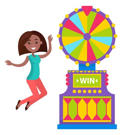 Roulette game machine, smiling woman winner. Fortune gambling equipment and success of female player, colorful wheel, lucky person, gambler vector. Flat cartoon