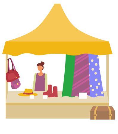 Mercado con mujer vendiendo ropa de moda, zapatos y bolsos tienda de vector aislado. Vendedor en el mercado, modernos sacos y maletín, botas y dependienta. Caricatura plana