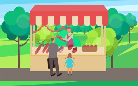 Grandfather with grandchild buying meat from butchery vector. Spring or summer fair in forest with trees and lawns. gastronomy production eating pork in park. Flat cartoon