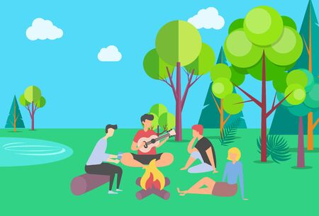 Friends spending time vector, summer vacation together in park camping near campfire, people playing guitar outdoor activity, happy weekend with friend, summertime by bonfire. Flat cartoon