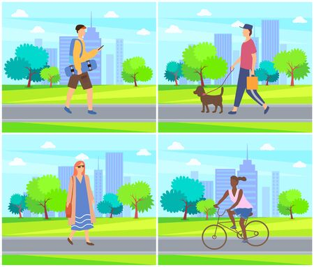 Woman and man with dog, skateboarder and afro-american girl walk in city park. Vector female and male outdoors, buildings and trees, summertime activities. Flat cartoon Ilustracja