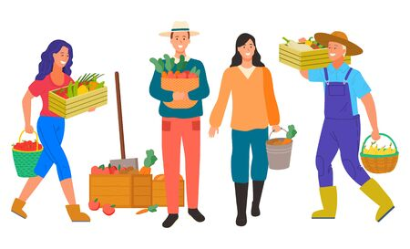 Farming man and woman with production vector, isolated farmer characters with carrots and pears in container. Lady with paprika and apples, shovel and box. Flat cartoon