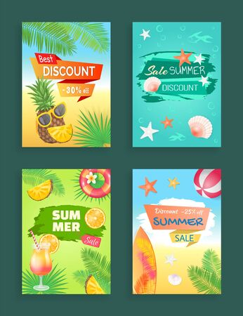 Best discount summer sale vector, banners set. Offers and seasonal propositions. Pineapple and cocktail, surfing board and volleyball ball, seashells. Summertime season sale