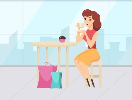 Break time with coffee and dessert of woman shopper. Female character sitting in cafe with colorful packages, shopping day, lady with purchase vector. Flat cartoon