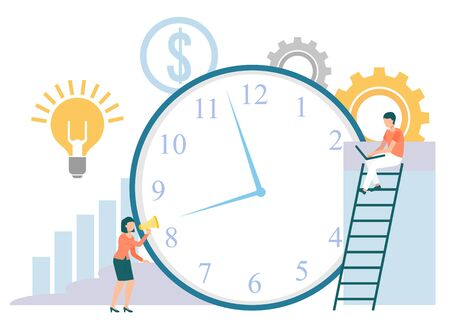 Time management vector, clock and workers working on projects. Man on ladder, woman pushing device, lightbulb idea and dollar currency sign. Cogwheel chart. Flat cartoon