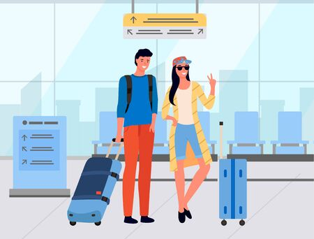 Smiling man and woman travelers standing in airport, people waiting with luggage. Tourists male and female with luggage in departure lounge vector. Family travel. Flat cartoon Ilustracja