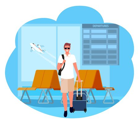 Man traveling with bag vector, person with luggage in airport, flight departure or arrival. Business trip journey of character on vacation. Modern suitcase. Businessman travel. Flat cartoon Ilustracja