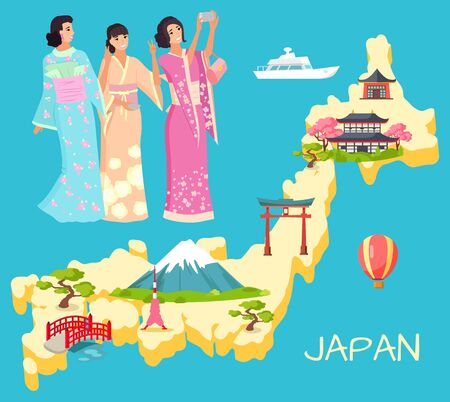 Japan map with landmark, mountain and sakura, Torii and Kyoto. Smiling geisha in national dress kimono making selfie, japanese architecture, female vector. Flat cartoon