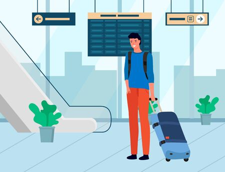 Smiling man with baggage, tourist with luggage in departure lounge. Man character with bag standing near stairs and scoreboard, traveler in airport vector. Flat cartoon Illustration
