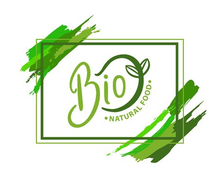 Bio natural food organic with green sprout isolated emblem in rectangular frame with brush stroke. Vector  design of ecological fresh natural products