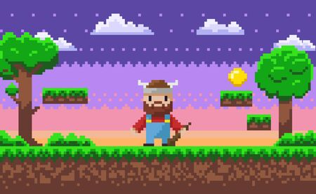 Viking wearing horned hat vector, 8 bit pixel game scene with heroic male character pixelated personage with weapon ready to fight, trees and grass clouds. Game landscape Ilustracja
