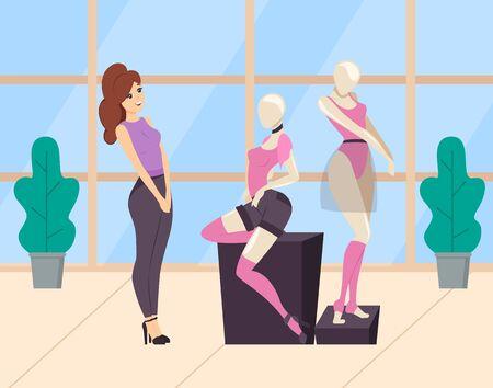 Femme faisant du shopping dans un magasin de vêtements. Boutique ou boutique pour dames. Mannequin vêtu d'un haut rose et d'un short noir et de chaussettes mi-bas. Vêtement moderne et à la mode. Vêtements de choix féminins. Dessin animé plat Vecteurs