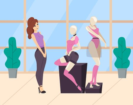 Woman shopping in clothes store. Ladies shop or boutique. Mannequin dressed in pink top and black shorts and over knee socks. Modern and fashionable garment. Female choice sexy clothing. Flat cartoon