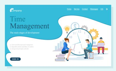 People working with projects in time vector, man and woman with laptops and data. Lady sitting on books, clock and gears process symbol text. Website about time managment flat style Ilustracja
