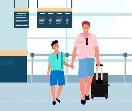 Smiling father holding son and luggage, people standing near scoreboard. Happy man travels with baggage in airport, passenger in terminal, journey vector. Family travel. Flat cartoon