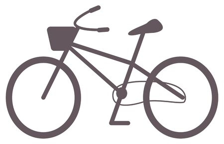 Ecological transportation vector, isolated bicycle with square shaped basket for carrying objects. Cycling lifestyle, easy travels riding and bicycling. Flat cartoon