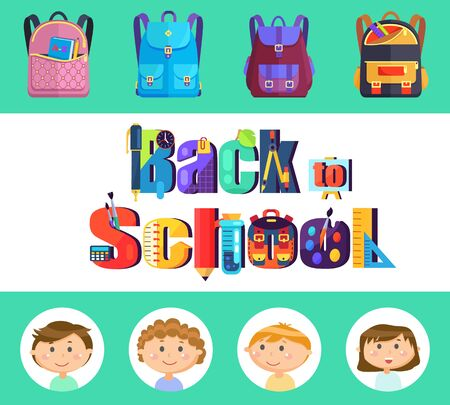 Stationery and backpacks, pupils or students children, back to school vector. Book and pencil, ruler and clock, divider and easel, calculator and flask. Flat cartoon Ilustracja