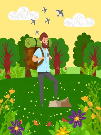Smiling man with backpack hiking in forest, green hills with flowers and trees. Hiker male near rock, traveling in wild nature, wood and blossom vector. Flat cartoon 向量圖像
