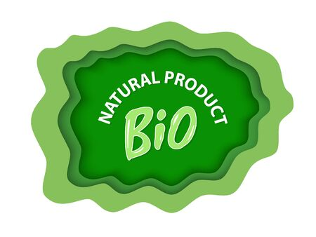 Bio natural product, organic food and supplies vector, isolated green , foliage vegetable elements, apple and plants with leaves natural meal and ingredients. Flat cartoon Ilustracja