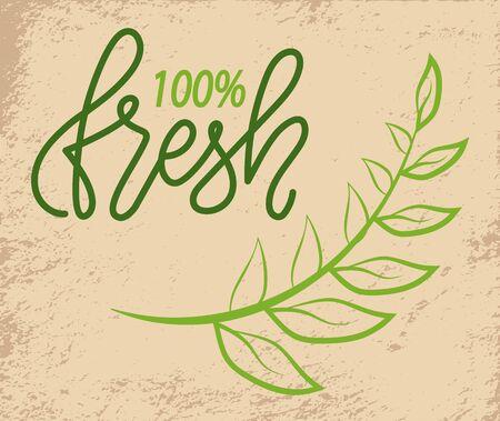 100% verde fresco con rama de árbol sobre fondo grunge. Vector de productos de súper calidad de grado premium de alto nivel, de bio nutrición.