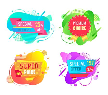 Set of watercolor sale labels on abstract liquid shapes isolated. Mega discounts and final price, special offer percent off promo adverts on color tags Ilustracja