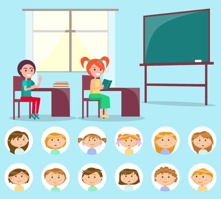 Pupils sitting at table with books, classroom decorated by desk and window, kids sitting indoor. Round stickers of children, classroom and classmate vector. Back to school concept. Flat cartoon