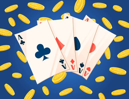 Gambling cards and golden coins award, business success. Four ace, win jackpot, casino entertainment, poker , fortune and currency, rich symbol vector. Flat cartoon Ilustracja