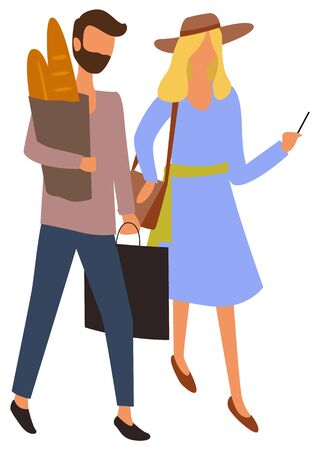 Male and female characters at marketplace buying food. Vector man with paper bag full of bread and package in hands and girl in blue dress with smartphone and hat. Flat cartoon Ilustracja