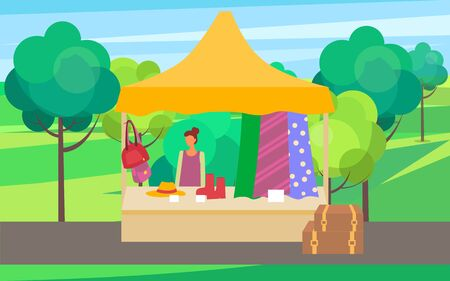 Summer or spring fair vector, seller with fabric and clothes for females. Salesperson with shoes and handbags, hats and accessories for women market in park. Flat cartoon