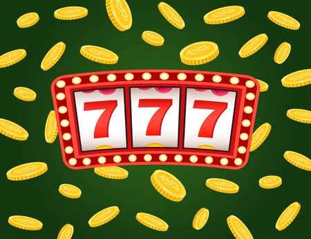Casino board with red strike 777 icons, business success. Signboard with light and coins on green, game machine, dollar currency, roulette or lottery vector. Flat cartoon Ilustracja