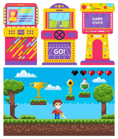 Game machine set, monitor of go or over game. Screen of pixel video-game, knight hero with steel, 8 bit award and key, pixelated bulb power symbols, adventure vector