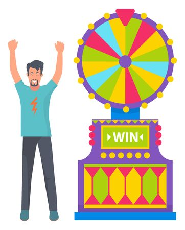 Casino games vector, fortune wheel with options and colored slots. Man happy of success and victory, winning money. Lucky character raising hands up. Flat cartoon