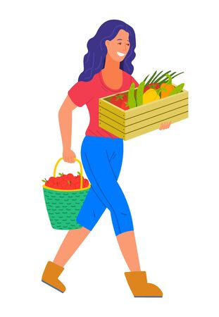 Harvesting season on farm vector, isolated woman carrying ripe fruits and vegetables in boxes. Container with tomato and cucumber, bucket with apples. Flat cartoon Illustration